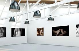Aanzicht galerie voor ondernemingen of kunstenaars