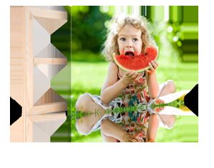 Foto op canvas met kerst 2_Voorbeeld met etend meisje