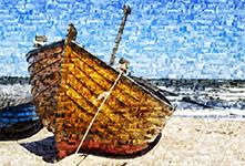Fotomozaiek van kleine boot