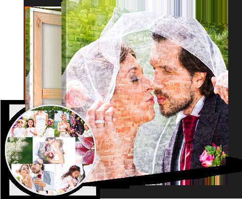 Huwelijk bruidspaar op fotomozaiek
