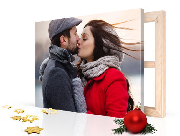 Kerst landing kussend paar op canvas