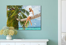 Palmenfoto op canvas boven sideboard