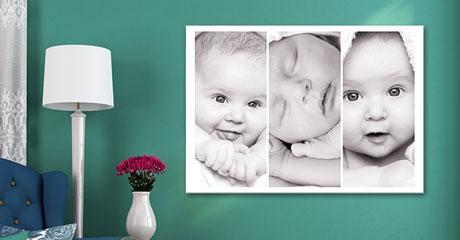 Woonruimte baby collage op canvas aan groene muur
