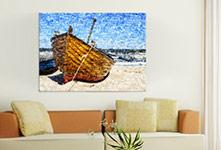 Woonruimte fotomozaiek boot klein op canvas