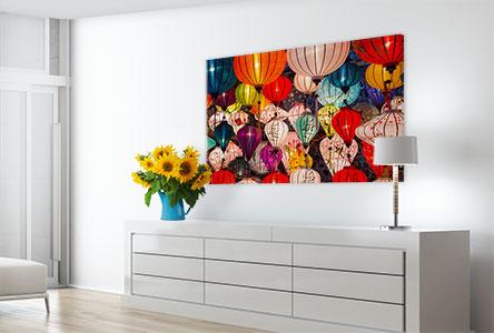 Woonruimte kleurrijke lampen op poster