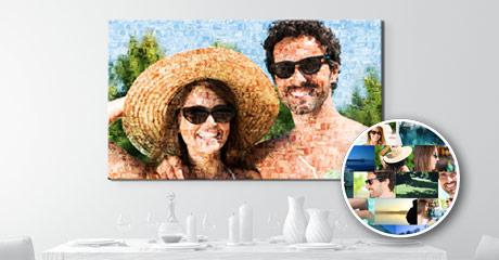 Woonruimte met paar als fotomozaiek op canvas aanzicht
