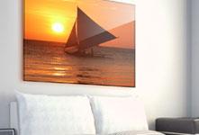 Zeilboot foto op plexiglas boven zitbank