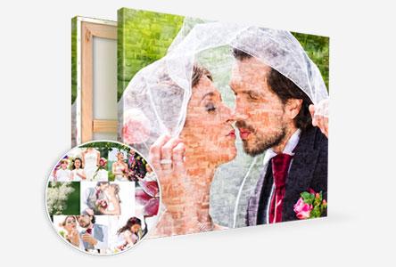 bruid en bruidegom fotomozaiek canvas uitzicht