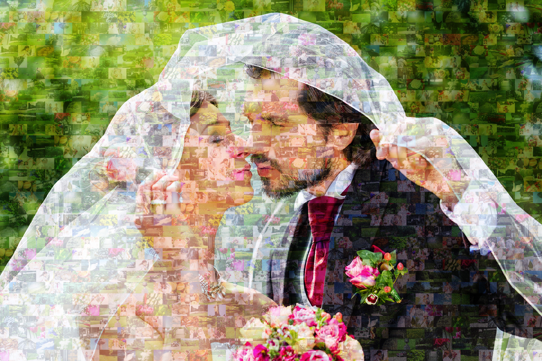 fotomozaiek bruid en bruidegom