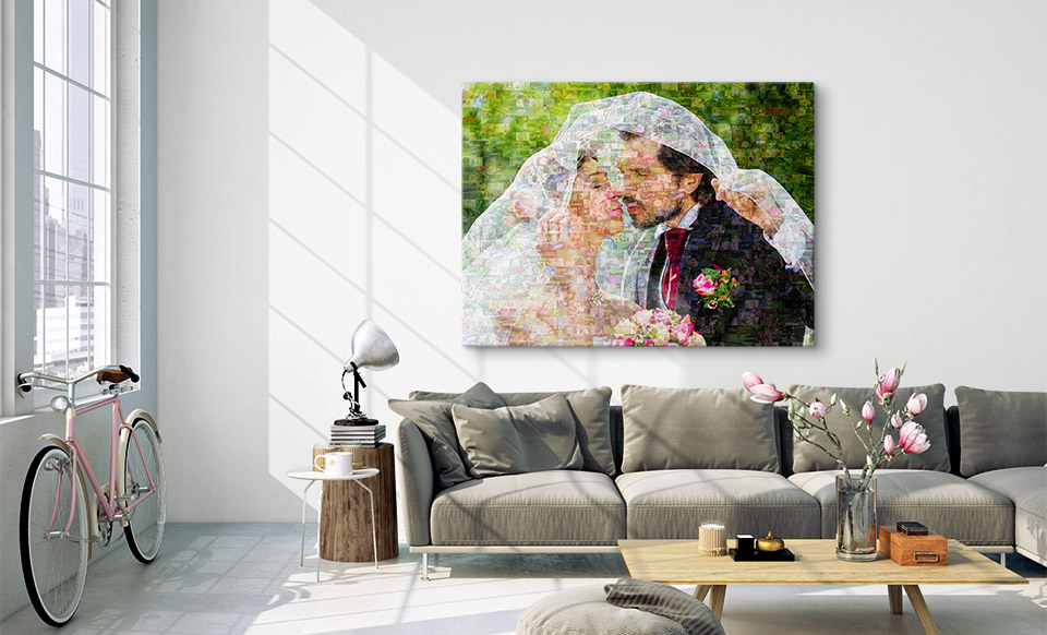 fotomozaiek op canvas woonruimte